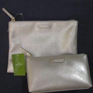 2 pc.set KATE SPADE Metro silver pouch, makeup bag